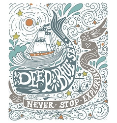 Hand drawn vintage label with a ship whale and vector image vector image