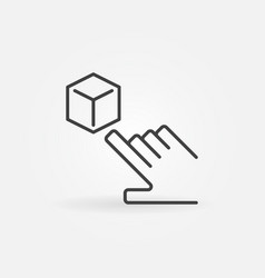 Hand pointing cube ar icon in line style vector