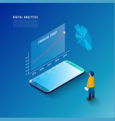 isometric design concept business strategy 3d vector image