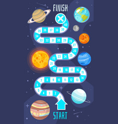 kids space board game template vector image