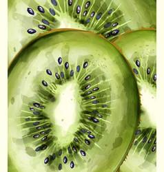 Kiwi pattern close up watercolor summer fresh vector