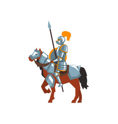 knight riding horse with spear and shield royal vector image