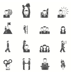 Leadership black white icons set vector image