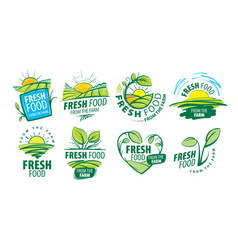 logo fresh food from the farm vector image