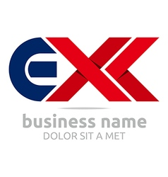 Logo letter e x alphabet element icon vector