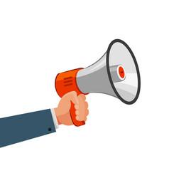 Loudspeaker or megaphone in hand advertising vector