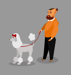 man walking with poodle design element vector image