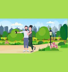 Man woman couple taking selfie photo on smartphone vector