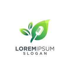 Mic and leaf logo design vector