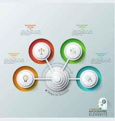 modern infographic design template with 4 round vector image