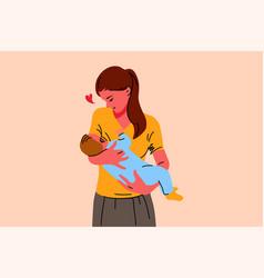 motherhood childhood breastfeeding care love vector image