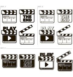 Movie black and white clapper boards vector