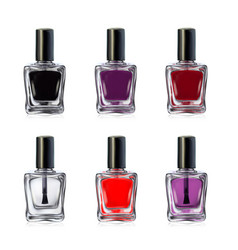 nail polish bottles on white background vector image