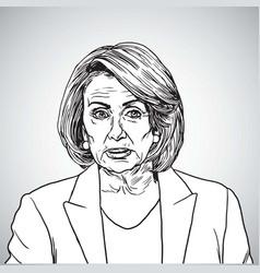 Nancy pelosi portrait drawing vector