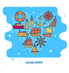 ocean spirit concept banner with ship icons in vector image
