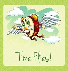Old idiom time flies vector