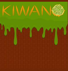 On theme falling runny kiwano drip at sugary vector