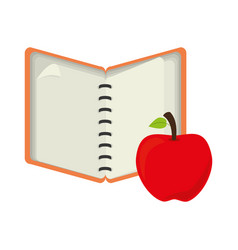 Open notebook with apple fruit vector
