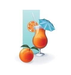 Orange in goblet of juice cocktail smoothie vector