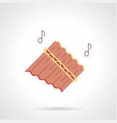 Pan flutes melody flat color icon vector