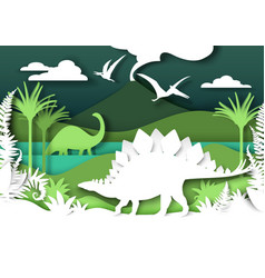 paper cut dino silhouettes and nature landscape vector image
