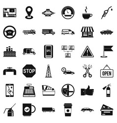 petrol icons set simple style vector image