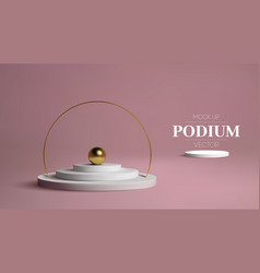 Podium with gold frame on pink background 3d vector