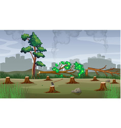 polution theme with deforestation vector image