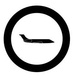 private airplane black icon in circle vector image