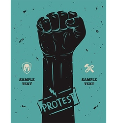 Protest poster raised fist held in vector
