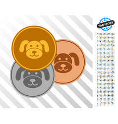 Puppy coins flat icon with bonus vector