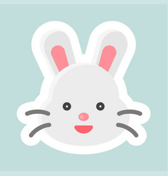 Rabbit icon easter and spring flat sticker vector