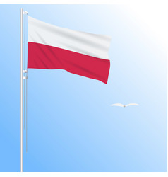 Realistic flag of poland fluttering in the wind vector