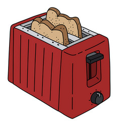 Red electric toaster vector