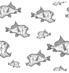 Seamless deep sea predatory fish scary animal vector
