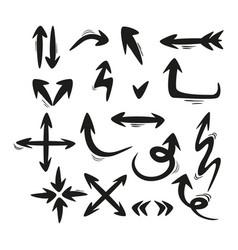 set hand-drawn arrows simple vector image