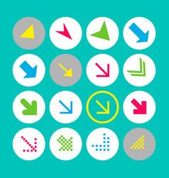 set of 16 arrow icons with south-east direction vector image