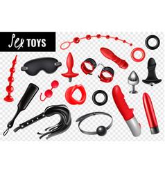 Sex toys transparent set vector