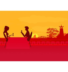 Silhouette couple flirt and drink champagne on vector