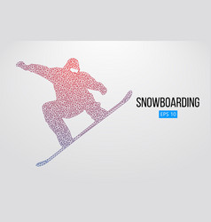 Silhouette of a snowboarder jumping isolated vector