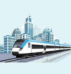 Speedy metro passing in front of modern city vector