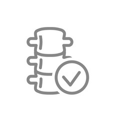 spine with tick checkmark line icon healthy vector image