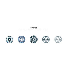 Spokes icon in different style two colored and vector