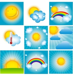 Sun and Coud Background Set vector