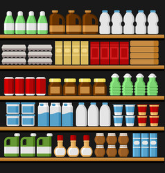 Supermarket shelfs shelves with products vector
