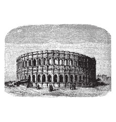 The arena of nimes a roman amphitheater during the vector