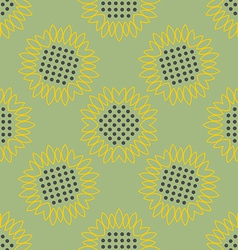 Vintage background Sunflowers seamless pattern vector