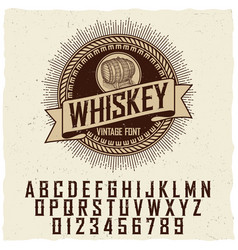 Vintage whiskey label font poster vector