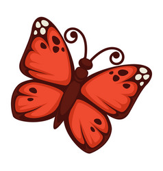 Vivid butterfly with red wings vector