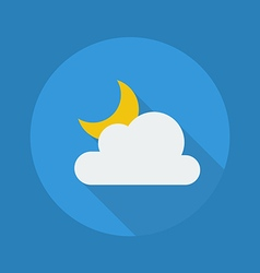 Weather flat icon partly cloudy night vector